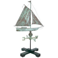 Early 20th Century American Copper Weathervane in the Form of a Schooner