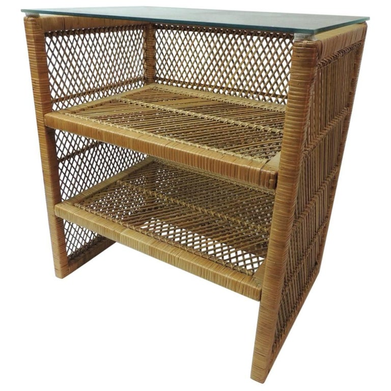 Vintage Rattan Rectangular Side Table with Shelves and Glass Top