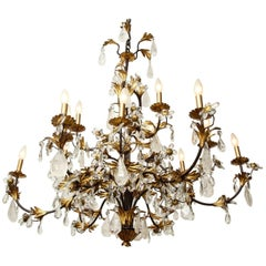 Italian Black and Gilt Tole Chandelier