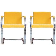 Pair of Flat Bar Brueton Brno Chairs in Yellow Velvet