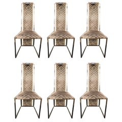 Willy Rizzo & Fabric Missoni Willy rizzo Chromed grey Steel Italian Set 6 Chairs