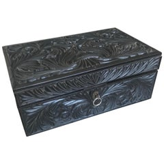 Antique 19th Century Fine Quality Carved Scrolling Ceylon Hardwood Box or Casket