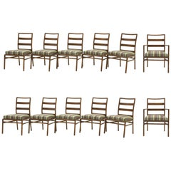 Set of 12 Dining Chairs by Robsjohn-Gibbings for Widdicomb, Paul Smith Fabric