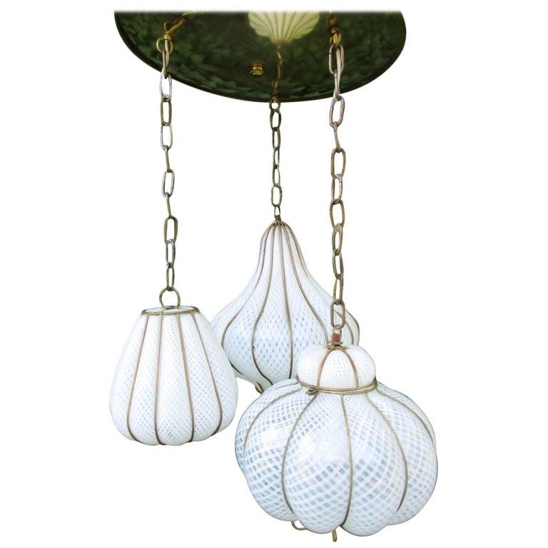 Midcentury Feldman Triple Pendant Italian Caged Latticino Glass Chandelier Lamp For Sale