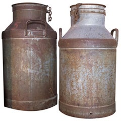 Antique Swedish Milk Cans in Aluminium