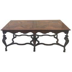 Large Italian Fruitwood and Walnut High Coffee Table