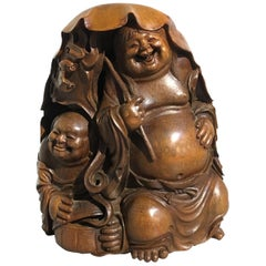 Chinese Qing Dynasty Carved Bamboo HeHe ErXian Group, 19th Century
