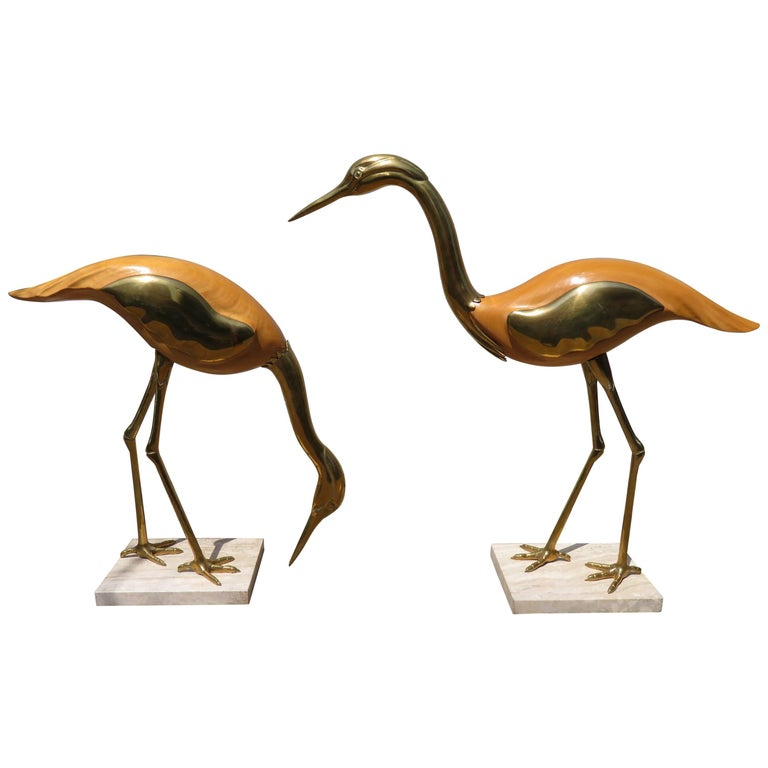 Magnificent Pair of Large Italian Antonio Pavia Style Egrets Cranes Travertine