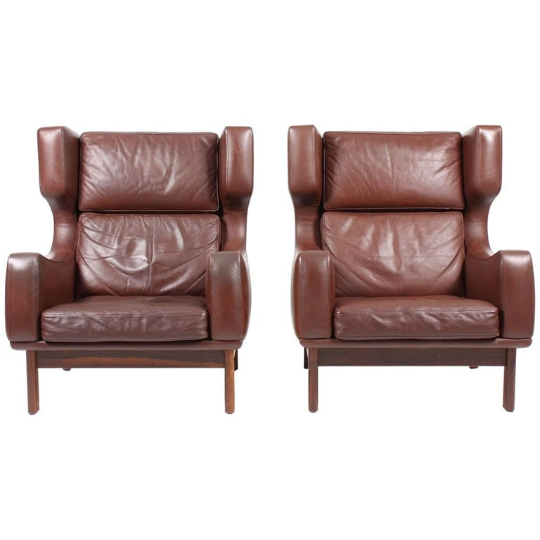 Pair of Wingback Chairs in Leather
