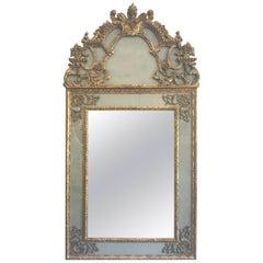Antique Italian Eglomise Giltwood Wall Mirror
