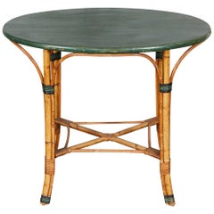 1940s Oval Bamboo Table with Green Top