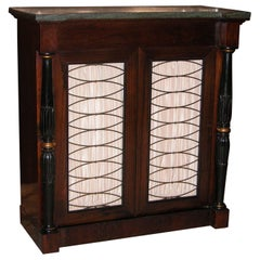 Regency Style Rosewood Console Cabinet with Green Marble-Top Drawer and Shelving