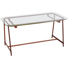 Jacques Adnet Leather and Glass Coffee Table