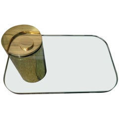 Fabulous Karl Springer Brass Cylinder Cantilevered Side Table Hollywood Regency