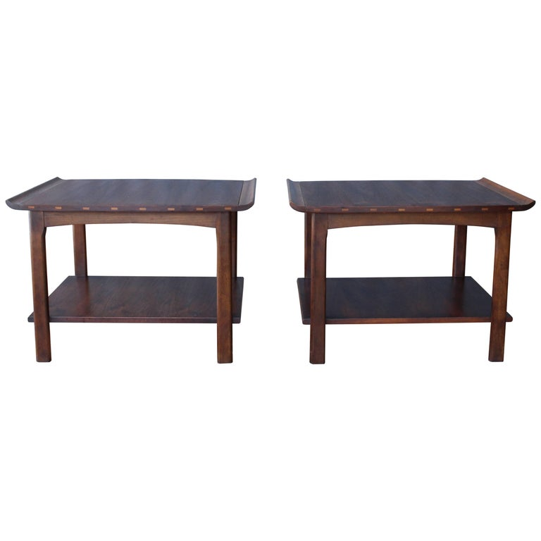Pair of Walnut End Tables by Lane, 1960s