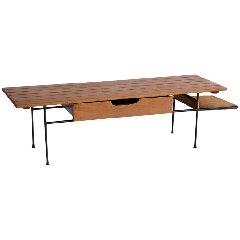 Arthur Umanoff Bench or Table with Drawer and Shelf