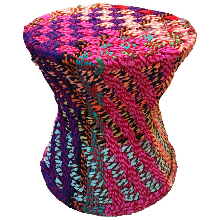 "Pr/"" It Is Not Missoni"" Sidetables or Puffs, Fabric, Super Colors,Handwoven  For Sale"