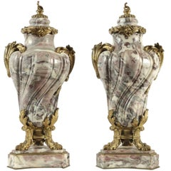 Pair of French 19th Century Marble and Gilt Bronze Cassolettes