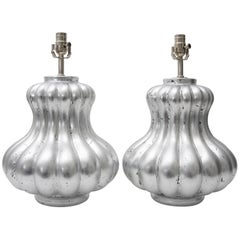 Pair of Silver Leaf Mellon Form Table Lamps by Angel & Zevallos