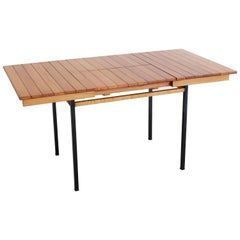 French Slatted Wood Extension Table