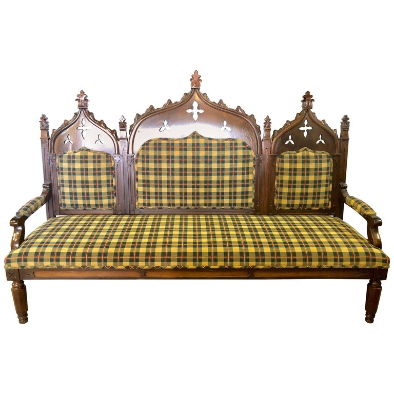 Gothic 19th Century Sofa or Hall Bench in an Irish Plaid Upholstery