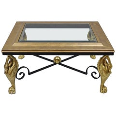 Regency Style Swan Base Rectangular Coffee Table Gold Metal Iron and Glass Top
