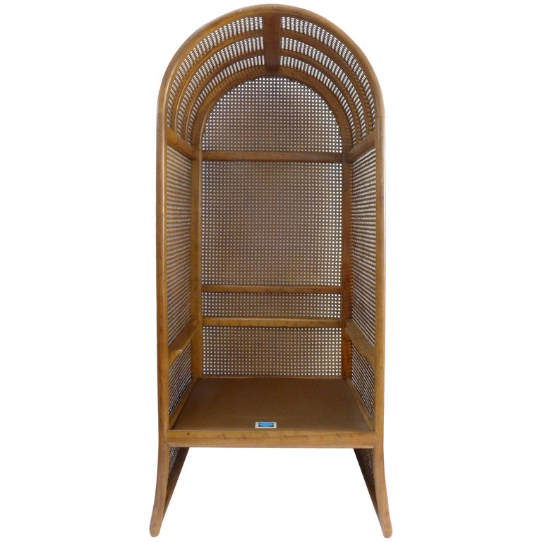 Wood and Woven Rattan Canopy Chair by Drexel For Sale