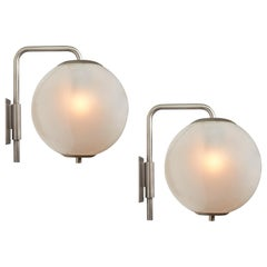 Large 1960s Italian Glass Globe Sconces in the Manner of Azucena
