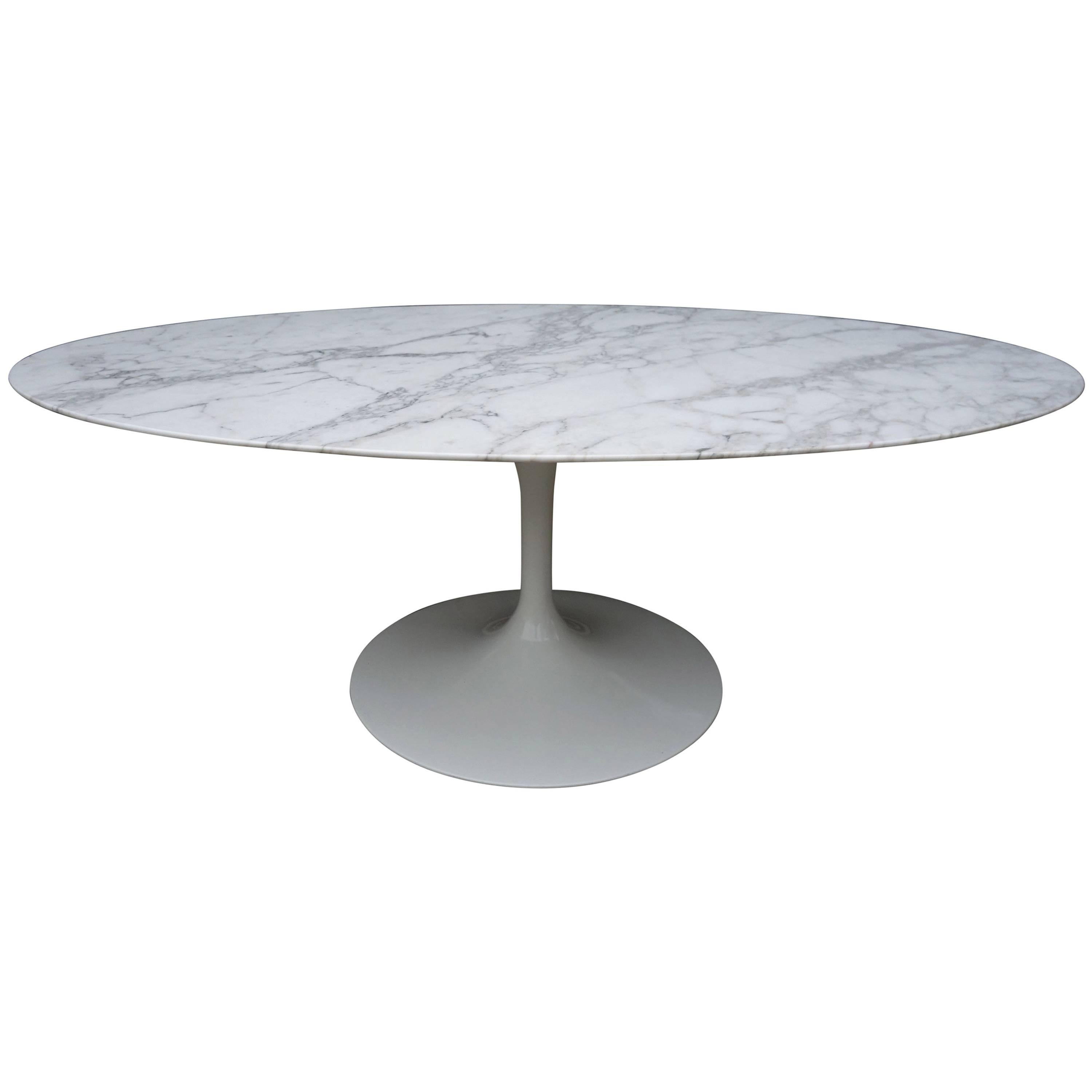 Midcentury Saarinen Oval Coffee Table With Special Order Marble Top