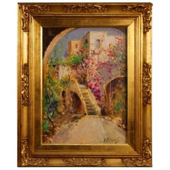 20th Century Italian Signed Oil on Board Painting Depicting Flowered Village