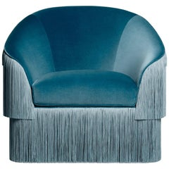 Fringes Armchair, Handmade Velvet Armchair with Fringe Trim