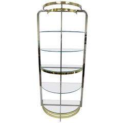 Chrome Brass Glass Demilune Etagere Half Round Mid-Century Modern Shelf