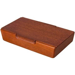 Small Carved Danish Modern Teak Box