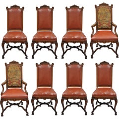 Eight French Louis XV Rococo Style Carved Walnut & Needlepoint Dining Chairs