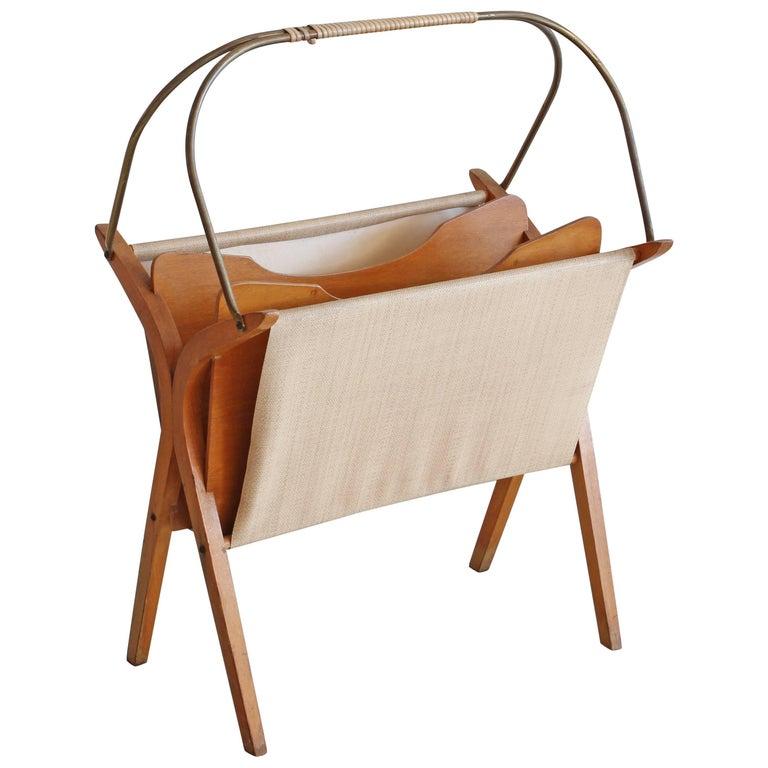 Wood and Brass Magazine Rack