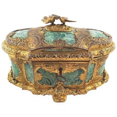 19th Century Ormolu-Mounted Faux Malachite Casket