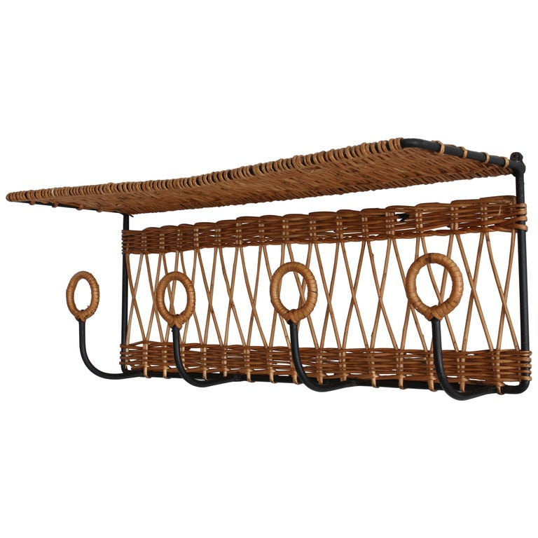 French Iron and Wicker Train Shelf Attributed to Jacques Adnet