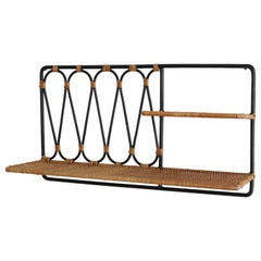 Iron and Wicker Wall Shelf Attributed to Jacques Adnet