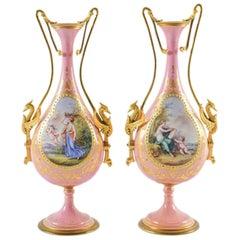 Pair of Pink Sevres Vases