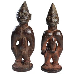 African Tribal Art Fine Rare Pair of Yoruba Ibeji Figures