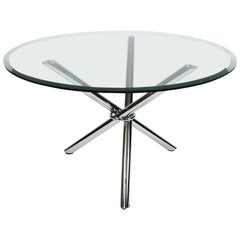 Milo Baugman Style Midcentury Jax Chrome Glass Tripod Dining/Centre Hall Table