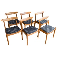 "Set of Six Hans Wegner Oak ""W2"" Dining Chairs"