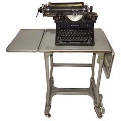 Early 20th Century Typewriter, on Steel Dual Drop-Leaf Rolling Typewriter Table