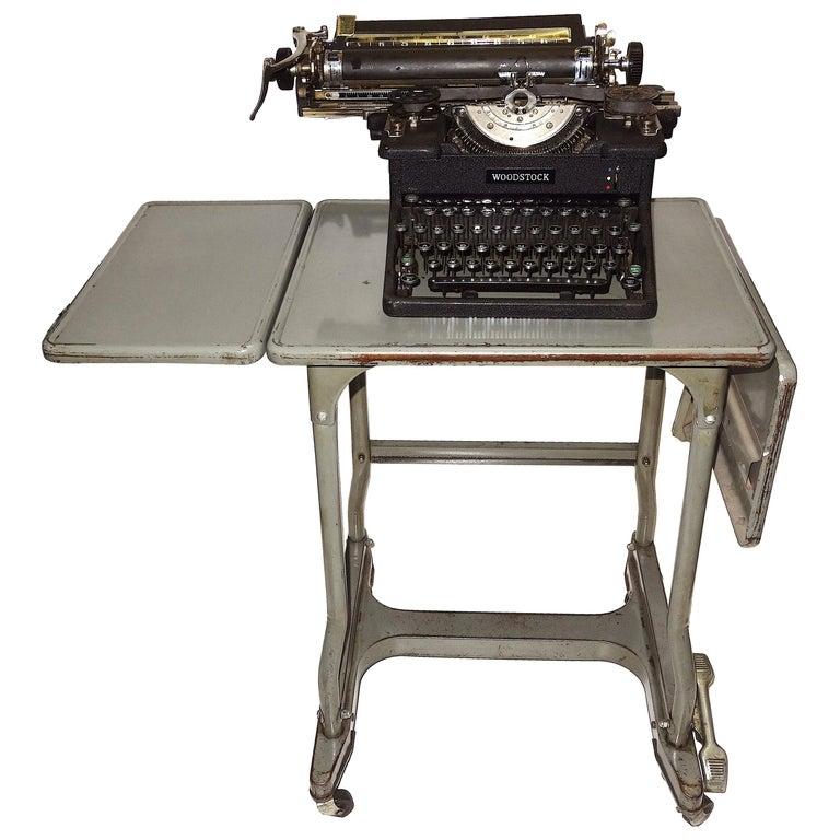 Early 20th Century Typewriter, on Steel Dual Drop-Leaf Rolling Typewriter Table