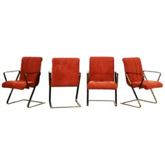 Z Frame Brass Plate Dining Chairs Style Milo Baughman, Set of Four