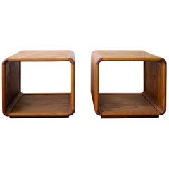 Oak Cube Side Tables California Design, 1970s