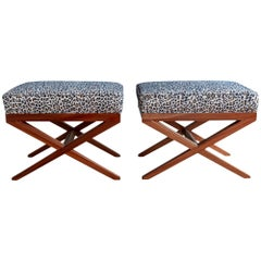Hollywood Regency X-Base Mahogany Stools