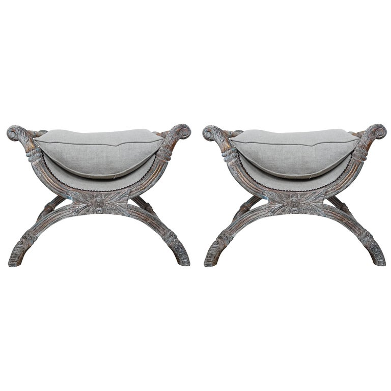 "Italian Carved Painted ""X"" Style Benches, Pair"