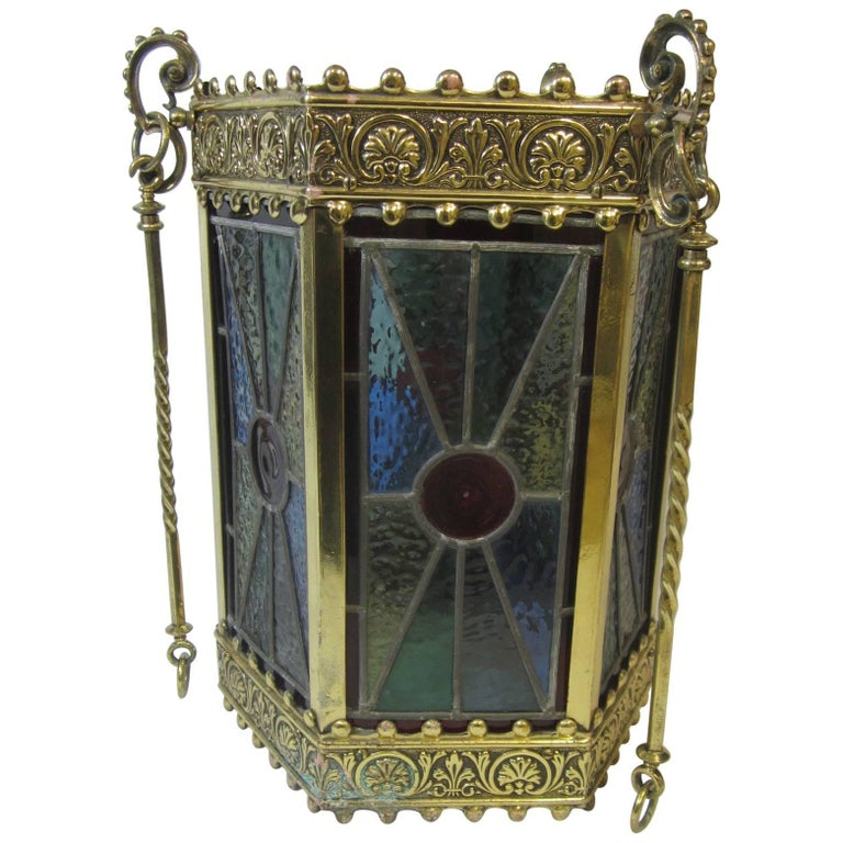 Arts & Crafts Period Brass and Lead Light Hexagonal Hanging Lamp