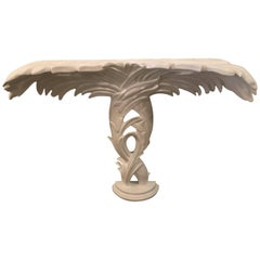 Vintage Palm Frond Leaf White Lacquered Wall Mount Console Table Palm Beach